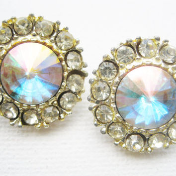 Vintage Rivoli Rhinestone Clip Earrings Aurora Borealis Sparkly Shimmering Earrings Vintage Jewelry Wedding Jewelry Bridal Jewelry