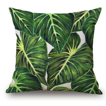 Southeast Style Tropical Plant Green Leaves Decorative Cotton Linen Backrest Pillow Cushion Square For Sofa Chair