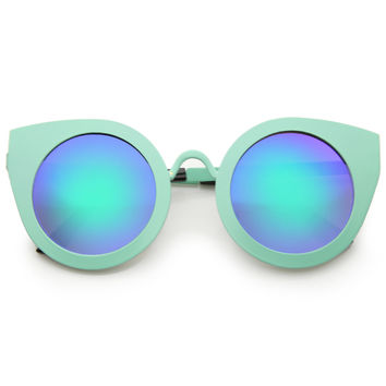 Women's Multi Color Mirrored Lens Round Cat Eye Sunglasses A504