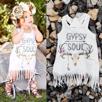 Cute Toddler Baby Kids Girl Dress Gypsy Soul Print Party Summer Beach tassel Sleeveless Vest dress Children dresses vestidos Y1