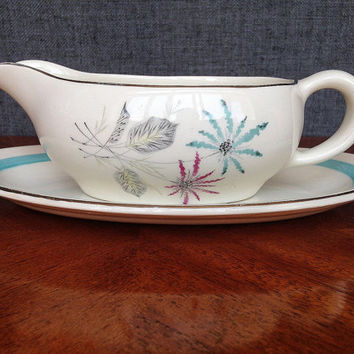Vintage Gravy Boat, Sauce Boat, Royal Staffordshire, Turquoise, Pink, Grey, 1950s