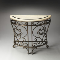 Metalworks Cheverny Iron & Fossil Stone Demilune Console Table