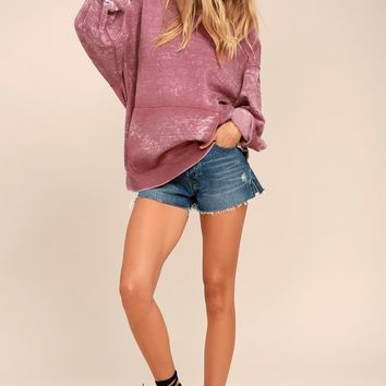 Free People Get It Washed Mauve Oversized Hoodie