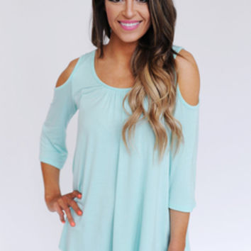 Solid Open Shoulder Top- Mint