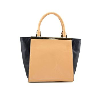 Michael Kors Lana Medium Tote Suntan/blk Leather