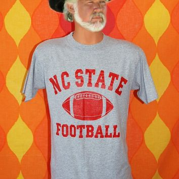 vintage 80s t-shirt NC STATE university wolfpack football tee shirt Medium heathered gray raleigh