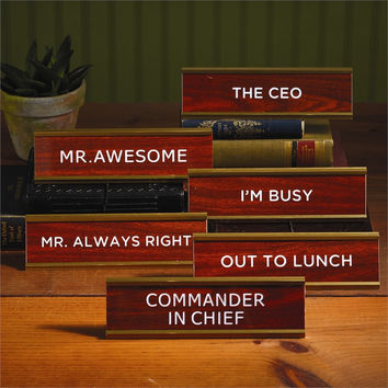 Like A Boss Retro Office Desk Name Plates