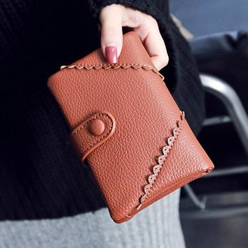 Trifold Stylish Small Wallet PU Leather Card Holder Purse For Women