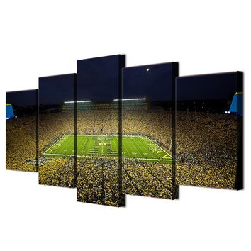 Michigan Wolverines Big House Football Large Framed Canvas