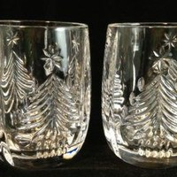 Pair of Mikasa Christmas Tree Mugs Leaded Crystal