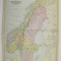 Antique Sweden Map Vintage Old Norway Map Scandinavia 1902 Unique Travel Gifts Under 30 Gifts for Home Black Friday Sale Cyber Monday Sale