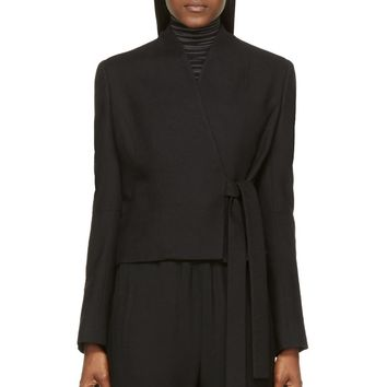 Damir Doma Black Wool Cropped Collarless Jime Jacket