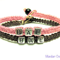 BAE Bracelets for Couples, Light Pink and Dark Brown Handmade Hemp Jewelry