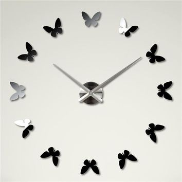 DIY Large 3D Butterfly Wall Clock Wall Decor