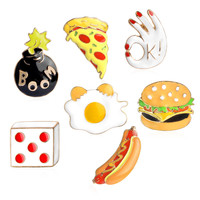Pizza Hamburgers Hot Dogs Poached Eggs Dice Bombs Enamel Pin  Hat Shirt Collar Bag Chain Brooch Fast Food Jewelry