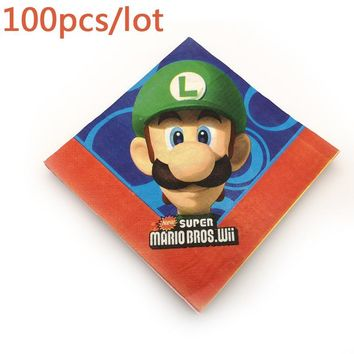 Super Mario party nes switch 100PC For   Bros Theme Paper Napkins Kids Favors Towels Decorate Baby Shower Birthday Party Printed Tissues AT_80_8