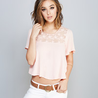 Sheer Lace Neck Flounce Top | Wet Seal