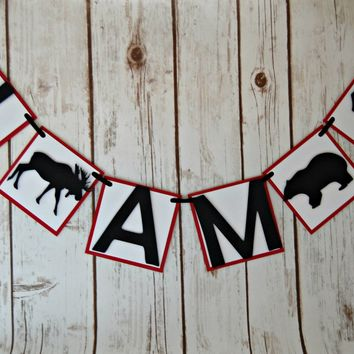 Lumberjack Mini Highchair Banner, Hunting Birthday, Moose and Bear Party