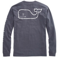 Vineyard Vines Long Sleeve Vintage Whale Graphic T-Shirt- Seal Blue