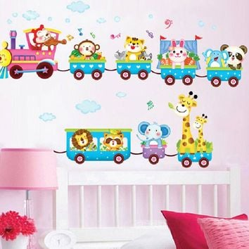 Cartoon Funny Animals Train Wall Stickers Decor Baby Room Fun Decor Removable Vinyl