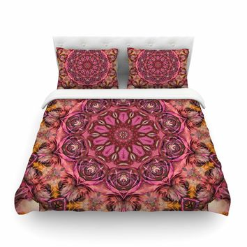 "Justyna Jaszke ""Mandala Pink Space"" Pink Red Abstract Pattern Digital Mixed Media Featherweight Duvet Cover"