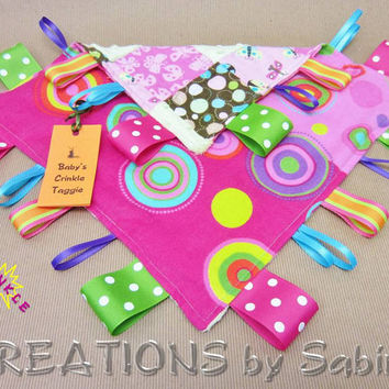Taggie Blanket Baby Sensory Toy Ribbons Pink Tag Blanket Handmade by CREATIONSbySabine