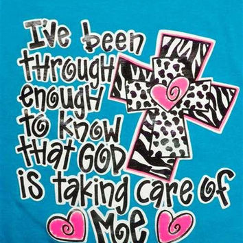 Southern Chics Funny God Taken Care of Me Cross Girlie Bright T Shirt
