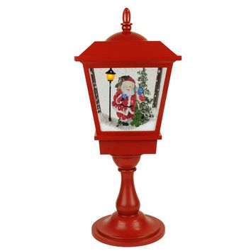 """25.25"""" Lighted Musical Santa Claus Snowing Red Table Top Christmas Street Lamp"""