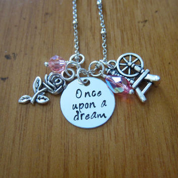 "Disney's ""Sleeping Beauty"" Inspired Necklace. Once Upon A Dream. Princess Aurora. Silver colored, Swarovski crystals. Hand stamped."
