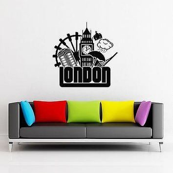 Wall Decal London England Big Ben Rain Britain Queen Vinyl Stickers Unique Gift (ed023)