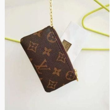 PEAPONMI LV Louis Vuitton Monogram Canvas Small Coin Purse Key Pouch