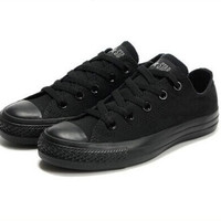 "All Black ""Converse"" Fashion Canvas Flats Sneakers Sport Shoes"