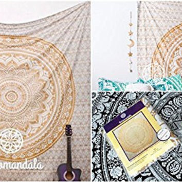 Beautiful Gold Handmade Crafted Indian Ombre Mandala Tapesty Wall Hanging Art Decorative Beach Sheet Throw