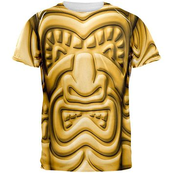 Tiki God Gold Face Luau All Over Mens T Shirt