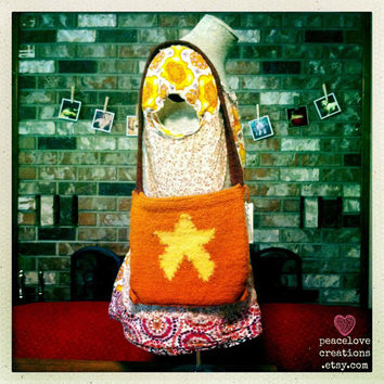 Star Bag Crocheted Felted