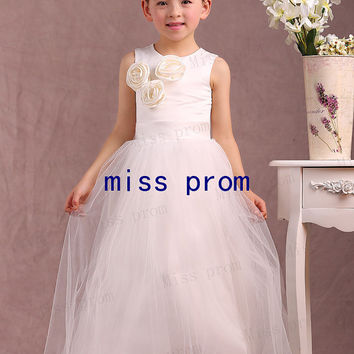 Jewel sleeveless floor-length tulle with flowers zipper back flower girl dress
