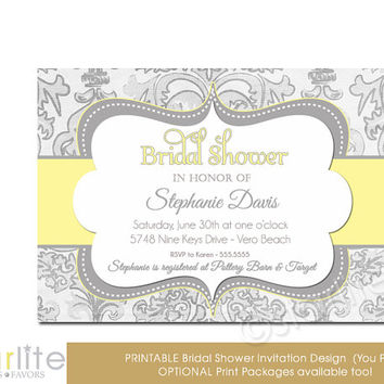 Yellow Gray Shimmer - Bridal Shower Invitation, Yellow Grey - vintage style, distressed chic - Printable Invitation, You Print