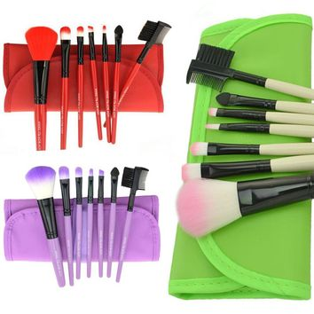 Newest 7pc Pro Cosmetic Makeup Tool Eyeshadow Powder Blush Foundation Brush Set Kit