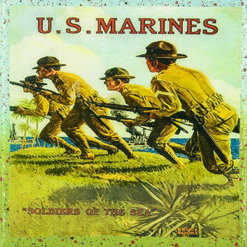 Vintage Patriotic Military Art - Marines Military - Soldiers Of The Sea - Handmade Recycled Tile Coaster
