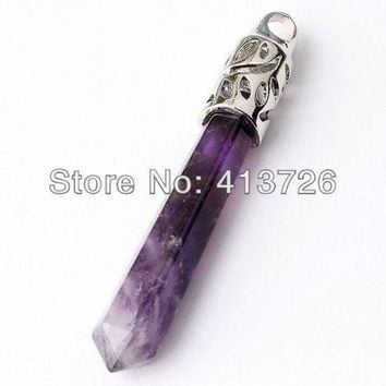 ICIKHY9 UMY Popular Silver Plated Natural Amethyst Crystal Reiki Healing Pendulum Pendant Fashion Jewelry