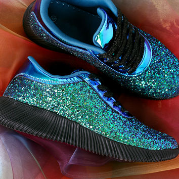 Holographic Ridge Sole Glitter Lace Up Sneakers | UrbanOG