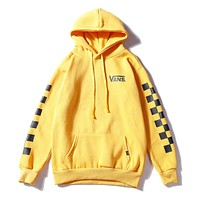 VANS autumn and winter new couple models plus velvet hooded hooded checkerboard sweater Yellow