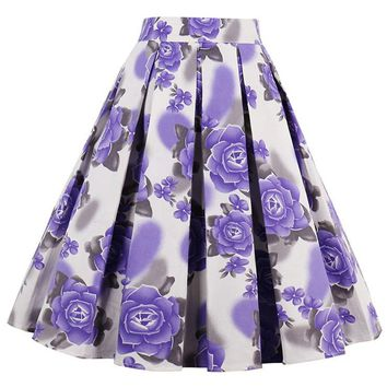 Atomic Purple Rose Rockabilly Skirt