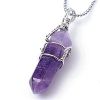 JOVIVI® Rock Crystal Divination Quartz Healing Point Chakra Pendant for Necklace no Chain - Amethyst
