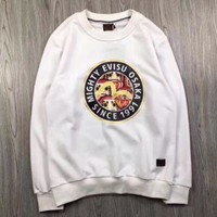 ONETOW Evisu Print Casual Simple Long Sleeve Top Sweater Pullover