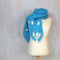 Blue fox, handmade soft scarf, knit knitted wrap, very long animal scarf, blue fox, fox scarf, blue turquoise white, shawl