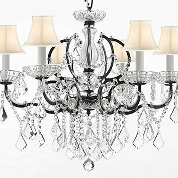 "Swarovski Crystal Trimmed Chandelier! 19th C. Rococo Iron & Crystal Chandelier Lighting With White Shades H 25"" x W 26"" - A83-WHITESHADES/994/6SW"