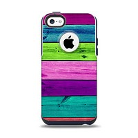 The Wide Neon Wood Planks Apple iPhone 5c Otterbox Commuter Case Skin Set