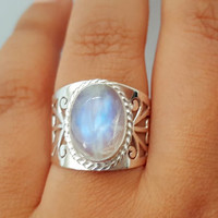 Genuine Moonstone Ring - Boho Ring - Gypsy Ring - Tribal Ring - Sterling Silver Moonstone Jewelry - Tibetan Nepal Jewelry
