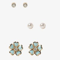 Heart Flower Stud Set | FOREVER 21 - 1030187402
